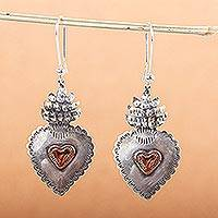 Sterling silver heart earrings, 'My Sweet Hearts' - Handcrafted Mexican Sterling Silver and Copper Earrings