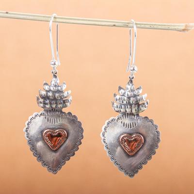 Sterling silver heart earrings, 'My Sweet Hearts' - Sterling Silver Artisan Crafted Earrings with Copper Hearts