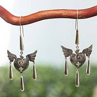 Sterling silver heart earrings, 'Medieval Hearts' - Taxco Sterling Silver Earrings with Hearts and Wings