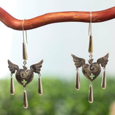 Sterling silver heart earrings, 'Medieval Hearts' - Fair Trade jewellery Handmade Sterling Silver Earrings