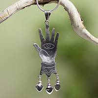Sterling silver pendant necklace, 'All-Seeing Eye' - Sterling Silver Necklace Taxco Artisan Jewelry