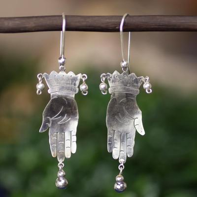 Sterling silver dangle earrings, 'Vintage Juggler' - Taxco jewellery Hand Made Sterling Silver Earrings