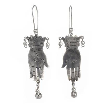 Sterling silver dangle earrings, 'Vintage Juggler' - Taxco jewellery Hand Made Sterling Silver Earrings