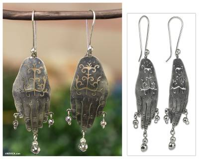 Sterling silver chandelier earrings, 'Protective Hands' - Artisan Crafted Earrings Taxco Sterling Silver Jewelry