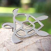 Sterling silver brooch pin, 'Soulful Turtle' - Sterling Silver Brooch Pin Taxco Artisan Jewelry