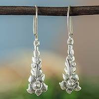 Sterling silver dangle earrings, 'Baroque Blossom' - Rustic Silver Floral Earrings