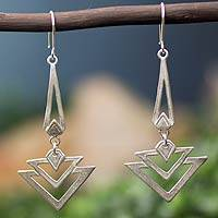 Sterling silver dangle earrings, 'Art Deco'