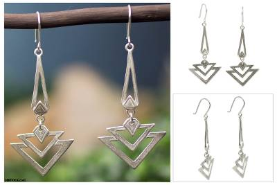 Sterling silver dangle earrings, 'Art Deco' - Artisan Crafted Antique Style Silver Earrings