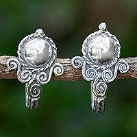 Sterling silver half hoop earrings, 'Beautiful Baroque'