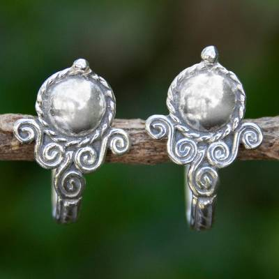 Sterling silver half hoop earrings, 'Beautiful Baroque' - Handmade Silver Half Hoop Earrings