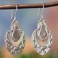 Sterling silver dangle earrings, 'Baroque Medallion'