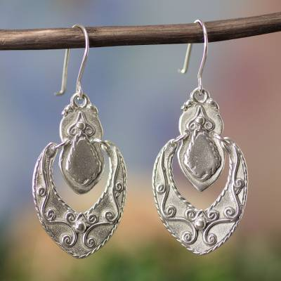 Sterling silver dangle earrings, 'Baroque Medallion' - Belle Epoque Silver Earring Design