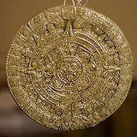Ceramic wall plaque, 'Aztec Calendar in Brown' (small) - Ceramic Wall Plaque Handmade Museum Replica