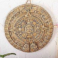 Ceramic wall plaque, 'Aztec Calendar in Brown' (medium)