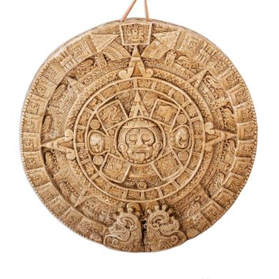 Ceramic wall plaque, 'Aztec Calendar in Brown' (medium) - Ceramic Wall Plaque Handmade Museum Replica