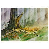 'Afternoon Tree Trunk' - Forest Landscape Watercolor Painting