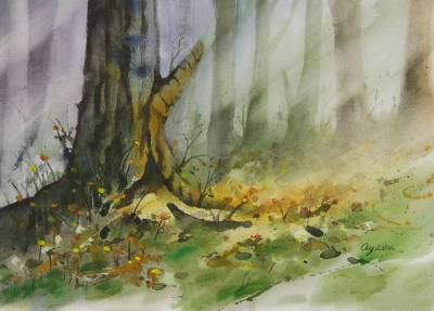 forest landscape watercolor painting afternoon tree