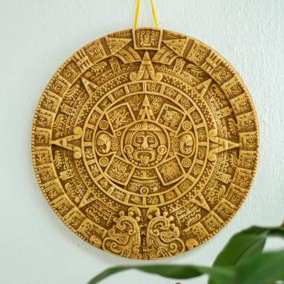 Ceramic plaque, 'Aztec Universe' - Ceramic Wall Plaque Museum Replica Handmade Mexico