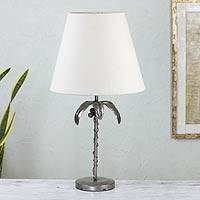 Auto parts table lamp, 'Cancun Coconut Palm' - Recycled Auto Parts Palm Tree Table Lamp