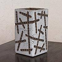 Ceramic accent lamp, 'Capricious Order' - Handcrafted Ceramic Accent Lamp from Mexico