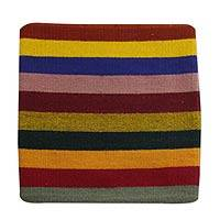 Wool cushion cover, 'Bright Horizons' - Modern Zapotec Multicolor Cushion Cover