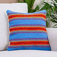 Wool cushion cover, 'Blue Horizons' - Handwoven Mexican Zapotec Virgin Wool Cushion Cover