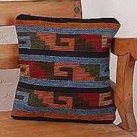 Wool cushion cover, 'Zapotec Steps' - Handcrafted Mexican Cushion Cover