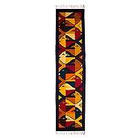 Zapotec wool runner, 'Fish Fiesta' (2x6) - Modern Zapotec Wool Rug 2 X 6 Ft Handmade in Mexico