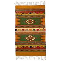 Zapotec wool rug, 'Golden Meadows' (2x3.5)