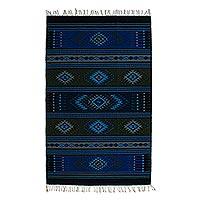 Zapotec wool rug, 'Oaxaca Sky' (4x6.5) - Handwoven Blue Wool Zapotec Rug (4x6)