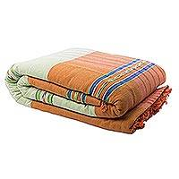Zapotec cotton bedspread, 'Oaxaca Dawn' (California king) - Zapotec Cotton Bedspread Woven by Hand (Cal King)
