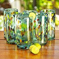 Blown glass tumblers, 'Sky Rainbow Raindrops' (set of 6) - Hand Crafted Blown Glass Tumblers (set of 6)