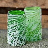 Hand blown drinking glasses, 'Festive Green' (set of 6) - Set of 6 Green Artisan Crafted Hand Blown Glasses