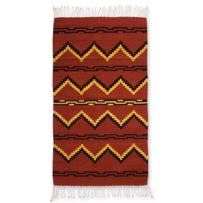 Zapotec wool rug, 'Pattern in Black' (2.5x5) - Zapotec Wool Area Rug