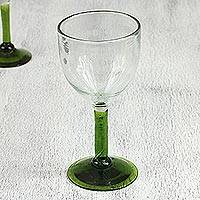 Blown glass wine glasses, 'Forest Mirage' (set of 4) - Hand Made Wine Glasses Blown Glass Art (set of 4)
