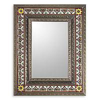 Tin and ceramic wall mirror, 'San Miguel Allende' (medium) - Medium Handcrafted Tin Ceramic Mirror