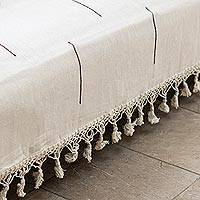 Zapotec cotton bedspread, 'Natural Contrasts' (twin) - Hand-woven Cotton Zapotec Bedspread in Beige (Queen)