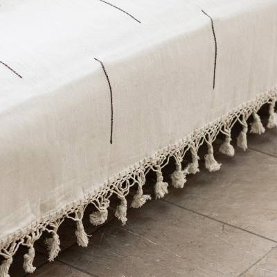 Zapotec cotton bedspread, Natural Contrasts (twin)