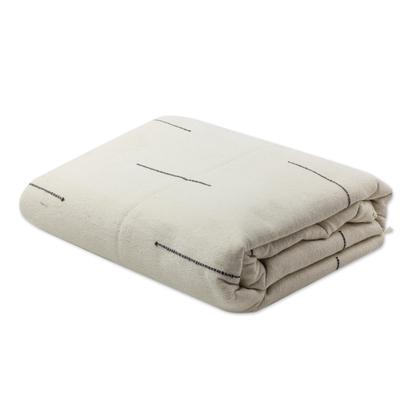 Zapotec cotton bedspread, 'Natural Contrasts' (twin) - Hand-woven Cotton Zapotec Bedspread in Beige (Queen)
