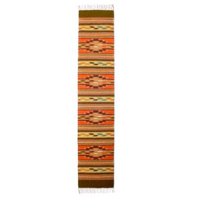 Handwoven Geometric Runner Rug From Mexico Autumn Leaves