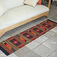 Zapotec wool rug, 'Red Diamond Splendor' (1.5x6)