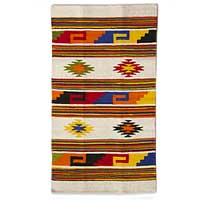 Wool rug, 'Stars of San Miguel' (2.5x4) - Bright Geometric Handwoven Mexican Accent Rug