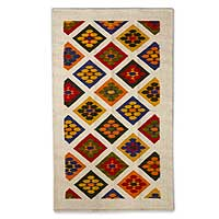 Wool rug, 'Flowers' (3.5x5) - Geometric Floral Wool Accent Rug