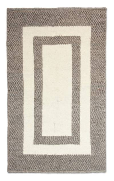 Wool rug, 'Nature's Window' (3.5x5.5) - Natural Handwoven Textured Wool Accent Rug (3.5x5.5)