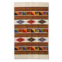 Wool rug, 'Stars Dance' (3.5x5) - Multicolor Handwoven Mexican Accent Rug