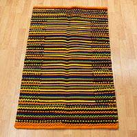 Wool rug, 'Radiant Rainbow' (2.5x4) - Handwoven Wool Accent Rug in Primary Colors