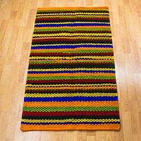 Wool rug, 'Color Kaleidoscope' (2.5x4) - Mexico Handwoven Multicolor Striped Accent Rug