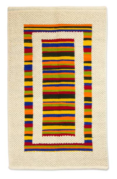 Colorful Striped Wool Accent Rug Rainbow Rectangle