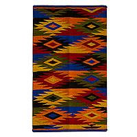 Wool rug, 'Dancing Diamonds (2.5x4) - Colorful Geometric Wool Accent Rug