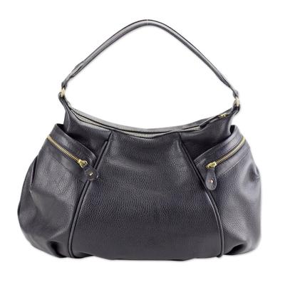Leather Baguette Handbag Guanajuato Mexican Black